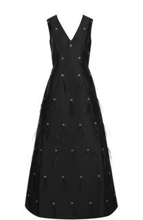 Приталенное платье-макси с V-образным вырезом St. John