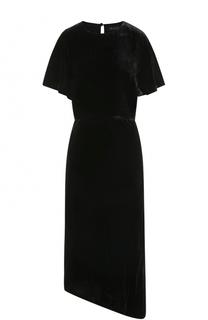 Приталенное бархатное платье асимметричного кроя St. John