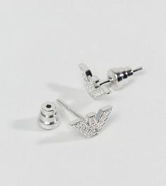 Серьги-гвоздики со стилизованным орлом и стразами Emporio Armani - Серебряный