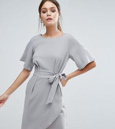 Платье с рукавами‑кимоно и поясом Closet London - Серый
