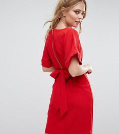 Платье миди с рукавами-кимоно и поясом на спине Closet - Красный