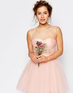 Свадебное платье мини из тюля Chi Chi London Petite - Розовый