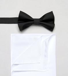 Галстук-бабочка и платок для нагрудного кармана ASOS - Черный