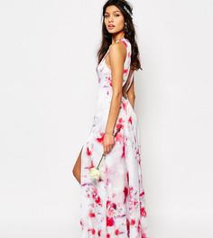 Платье макси с открытой спиной и разрезами по бокам Fame and Partners Ashleigh - Розовый
