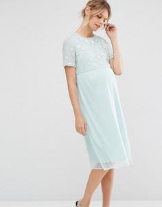 d2df52dc7d1f Платье миди для беременных с отделкой жемчугом ASOS Maternity - Розовый