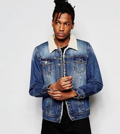 Джинсовая куртка цвета индиго с воротником из искусственного меха Liquor N Poker - Синий