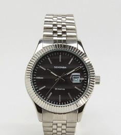 Серебристые наручные часы с черным циферблатом Sekonda эксклюзивно для ASOS - Серебряный