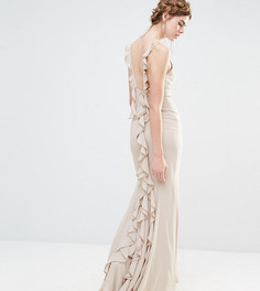 Платье макси с асимметричным краем и оборками сзади Jarlo Wedding - Серый