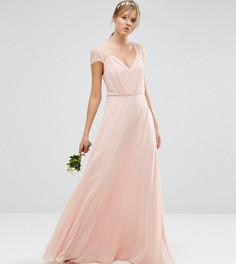 Кружевное платье макси ASOS TALL Kate - Бежевый