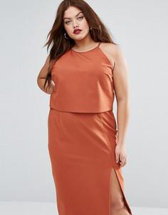 Двухслойное платье-футляр без рукавов с халтером Lavish Alice Plus - Бежевый