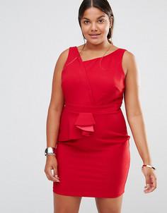 Платье-футляр с асимметричной плиссировкой Little Mistress Plus - Красный
