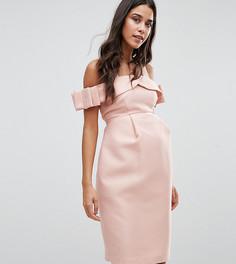 Платье для особых случаев с открытыми плечами и бантом ASOS Maternity - Розовый