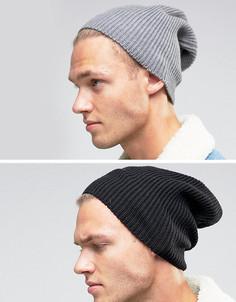 2 шапки-бини (черная/серая) ASOS - СО СКИДКОЙ - Мульти