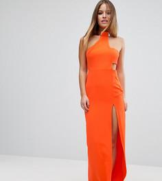 Платье макси с халтером и золотистой вставкой ASOS PETITE - Оранжевый