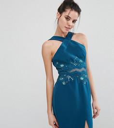 Платье-футляр с перекрестом спереди и аппликацией из цветочного кружева Little Mistress Petite - Зеленый