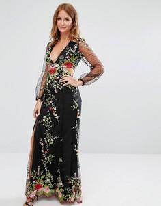 Платье с вышивкой и кружевом Millie Mackintosh - Черный