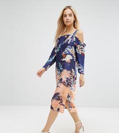 Платье с открытыми плечами и цветочным принтом ASOS PETITE - Мульти