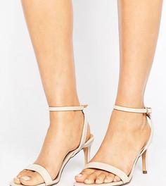 Босоножки на каблуке для широкой стопы ASOS HIDEAWAY - Бежевый