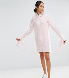 Хлопковое платье-рубашка с большими манжетами и бантиками ASOS TALL - Розовый