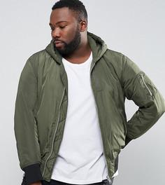 Бомбер цвета хаки с капюшоном и карманом ASOS PLUS MA1 - Зеленый