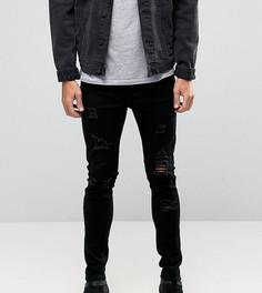Черные зауженные джинсы с рваной отделкой Liquor N Poker - Черный