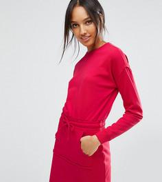 Трикотажное платье с карманом-кенгуру ASOS TALL - Красный