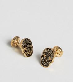 Золотистые запонки с черными черепами Noose & Monkey эксклюзивно для ASOS - Золотой