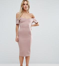 Платье-футляр миди с открытыми плечами ASOS PETITE - Бежевый