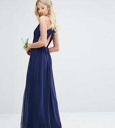 Платье макси с плиссировкой и отделкой сзади TFNC WEDDING - Темно-синий
