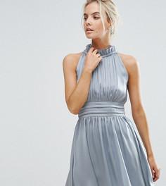 Короткое приталенное платье со сборками Little Mistress Petite - Синий