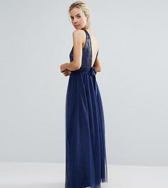 Платье макси для выпускного из тюля с бантом на спине Little Mistress Petite - Темно-синий