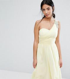 Короткое приталенное платье на одно плечо для выпускного с отделкой Little Mistress Petite - Желтый