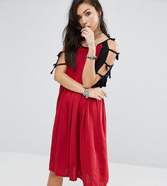 Винтажное контрастное платье с завязками на рукавах Milk It - Красный