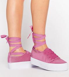 Кроссовки из бархата с завязками ASOS DENVER - Розовый