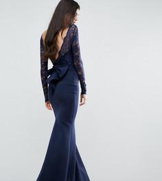 Черное платье макси с кружевом, бантом и подолом годе City Goddess Tall - Темно-синий