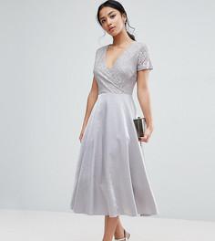 Платье миди для выпускного с кружевным лифом True Decadence Petite - Зеленый