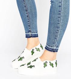 Кроссовки с нашивкой-кактусом для широкой стопы ASOS DESERT - Бежевый