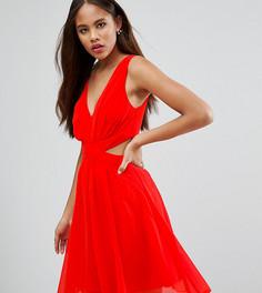 Платье мини с вырезами по бокам и бантом сзади ASOS TALL - Оранжевый