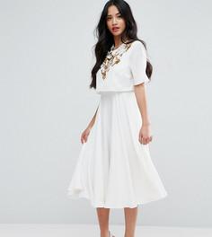 Декорированное приталенное платье миди с кроп-топом ASOS PETITE - Бежевый