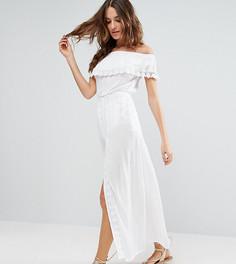 Пляжное платье с открытыми плечами и оборкой Akasa - Белый