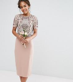 Платье с декорированным накладным топом Maya Tall - Розовый