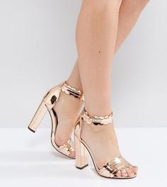 Босоножки на высоком каблуке цвета розового золота для широкой стопы Lost Ink - Золотой