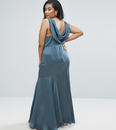 Платье-премиум макси с драпированным вырезом на спине ASOS CURVE WEDDING - Синий