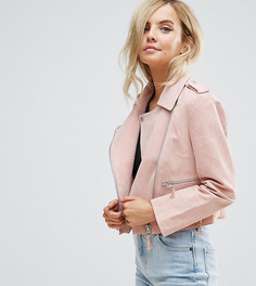 Замшевая байкерская куртка ASOS PETITE - Розовый