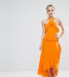 Платье с оборками и бретелями через шею True Decadence Petite - Оранжевый