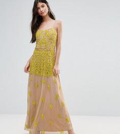 Платье макси с топом-корсетом и отделкой Maya Petite - Желтый