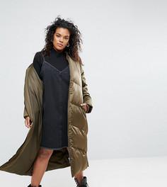 Удлиненная дутая куртка ASOS CURVE - Зеленый