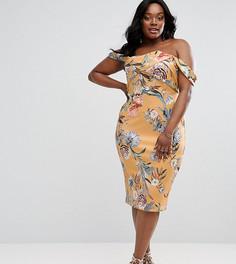 Платье миди с широким вырезом и ярким цветочным принтом ASOS CURVE - Мульти