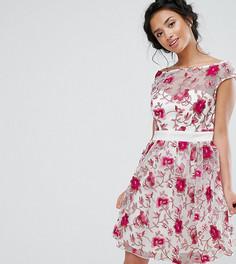 Короткое приталенное платье-премиум с вышивкой Little Mistress Petite - Мульти