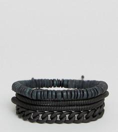 4 браслета с цепочкой и бусинами ALDO - Черный